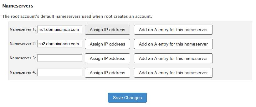 1.1. Tampilan Add Nameservers di root.