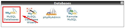 1.1. MySQL Databases menu.