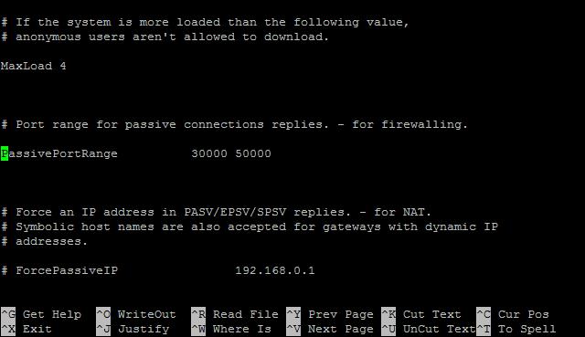 1.7 - PassivePortRange setelah # dihilangkan.