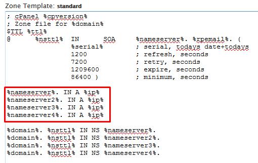 1.3. Menambah record nameservers di default zone.