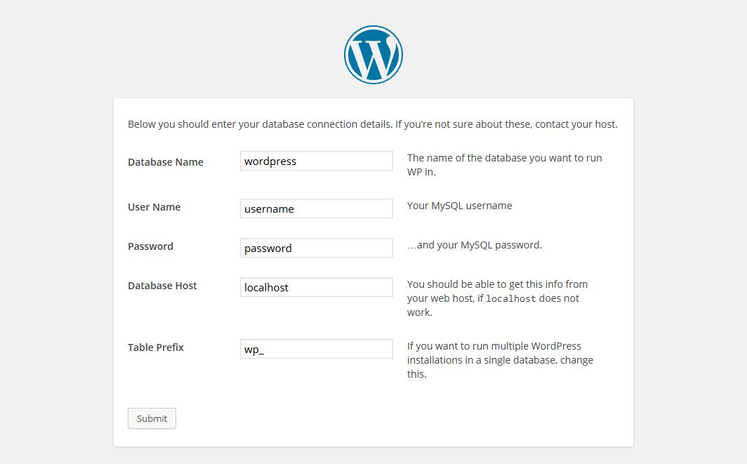 1.6. - WordPress Database Settings.