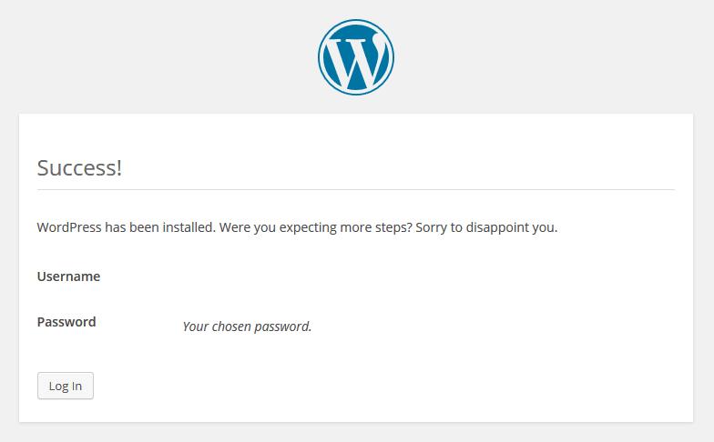 1.8. - WordPress Berhasil diinstall.